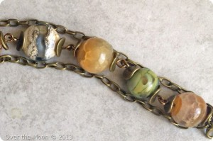 Lampwork and agate beads, 7th Bead Soup Blog Party, Handmade bracelet, Over the Moon