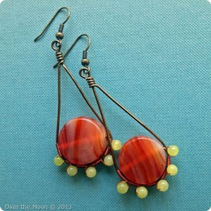 7th Bead Soup Blog Party, Handmade earring, Over the Moon