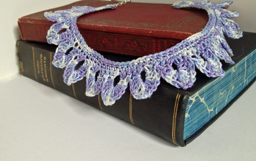 handmade, crochet lace necklace, over the moon