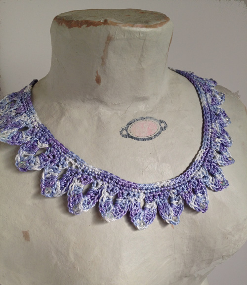 Crochet lace necklace, handmade jewellery, over the moon