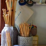 craft storage ideas, 31 days, crochet jar covers, needle storage, crochet, knitting