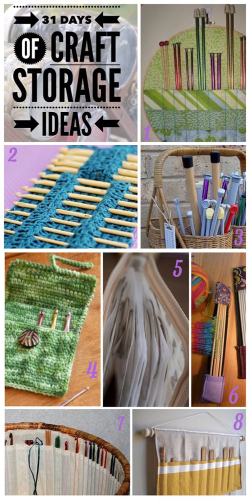craft storage ideas, 31 days, hooks, needles, crochet, knitting