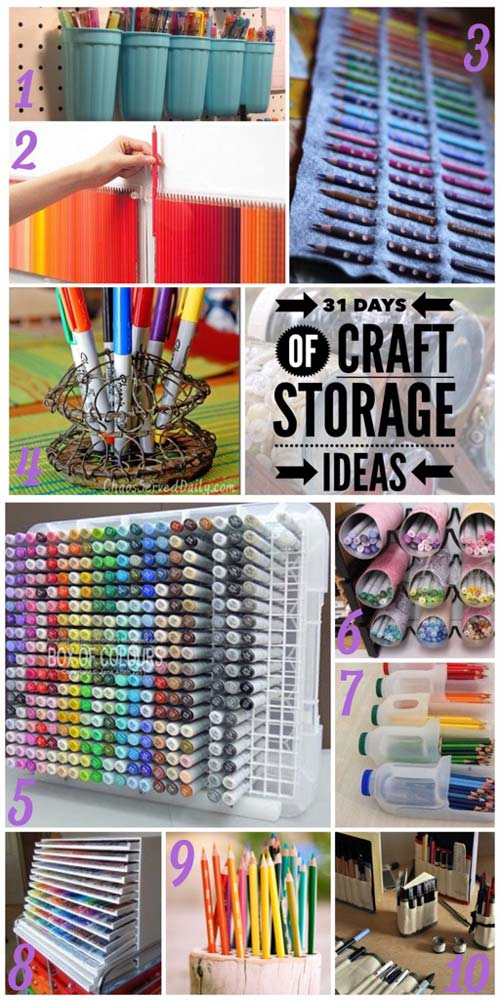 31 days, craft storage ideas, pen storage, marker storage, copics, store pens