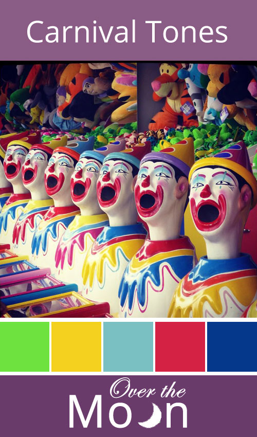colour palette, colour, carnival,  clowns, Over the Moon