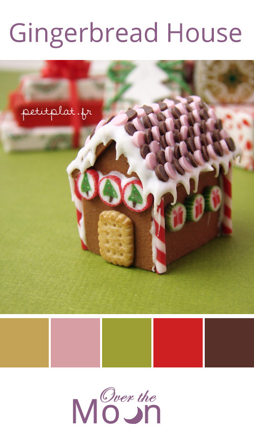 colour palette, gingerbread house, gingerbread, over the moon