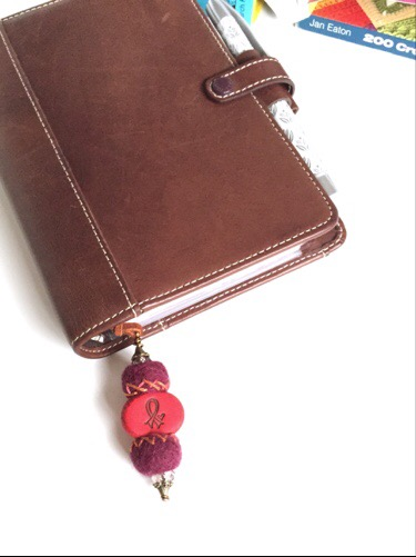 Art of awareness blog hop, bookmark, polymer clay, mixed media, felt beads, Filofax