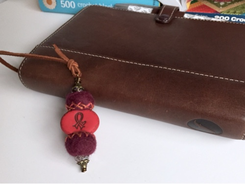 Filofax bookmark, art of awareness, mixed media, handmade, felt beads, polymer clay