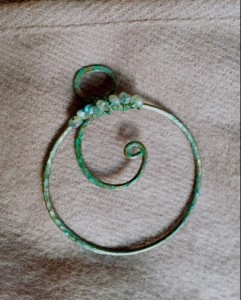 Swirl pin, circular brooch, copper pin with labradorite beads, Over the Moon