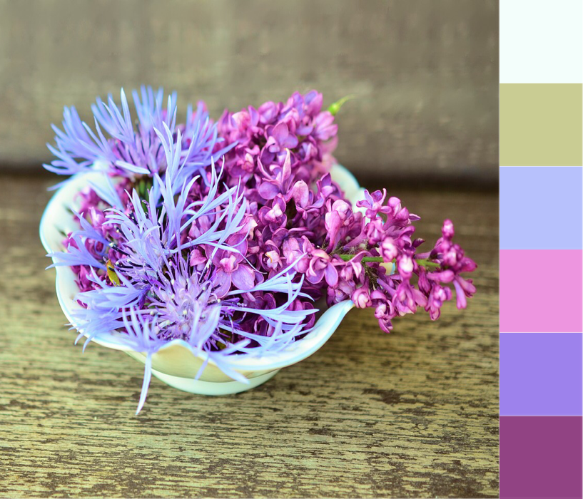 pastel flowers in a bowl colour palette